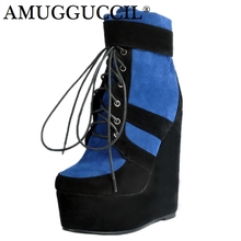 2019 New Plus Big Size 34-48 Blue Lace Up Fashion High Heel Platform Females Girl Lady Mid Calf Autumn Women Boots X1679 2018 new cow suede plus big size 34 42 black brown zip buckle fashion knee high autumn winter lady females womens boots x1690