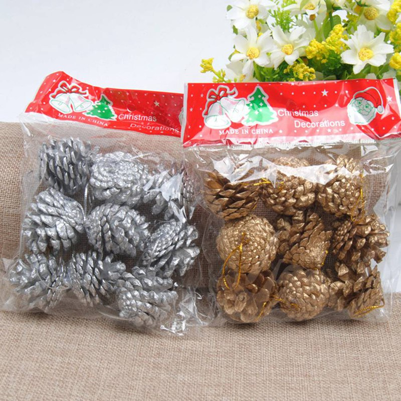 Festive & Party Supplies Inventive 9pcs Christmas Tree Pine Cones Pinecone Hanging Ball Holiday Xmas New Year Party Ornament For Home Festival 2colors Supplies Be Novel In Design Pendant & Drop Ornaments