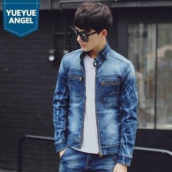 Slim Denim Pocket Coat Vintage Zip Jacket Men Casaco Masculino Turn Collar Male Denim Coat Washed Jean Jacket Clothes for Men