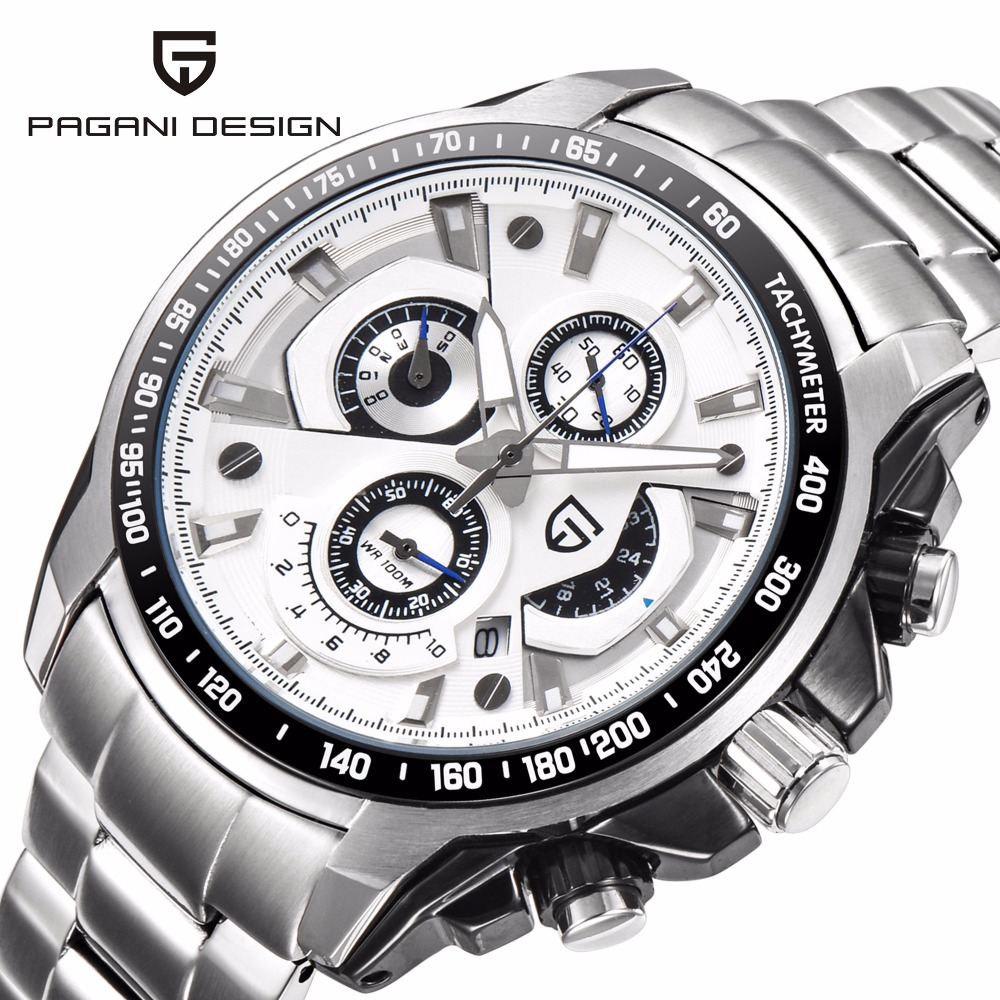 Pagani Men's stainless steel watches waterproof business clock reloj hombre watch relogio masculino quartz gift men wristwatches cuena men quartz watch clock reloj stainless steel watches relojes six pointer movement relogio masculino man wristwatches 6802g
