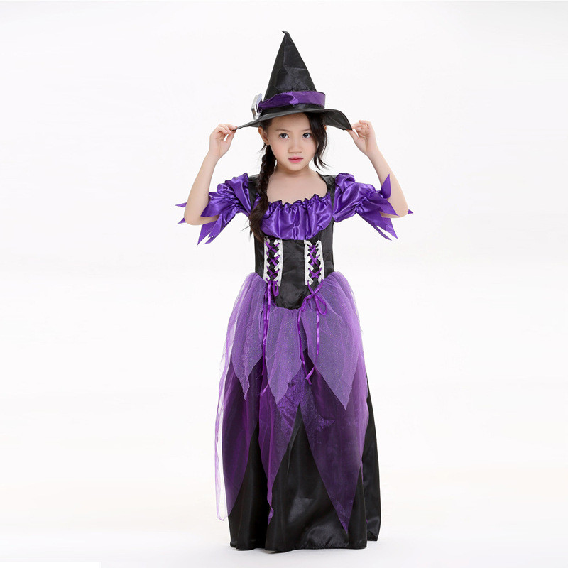 Vocole Halloween Children Kids Purple Fly Witch Cosplay Dress Clothing Game Party Costumes With Hat