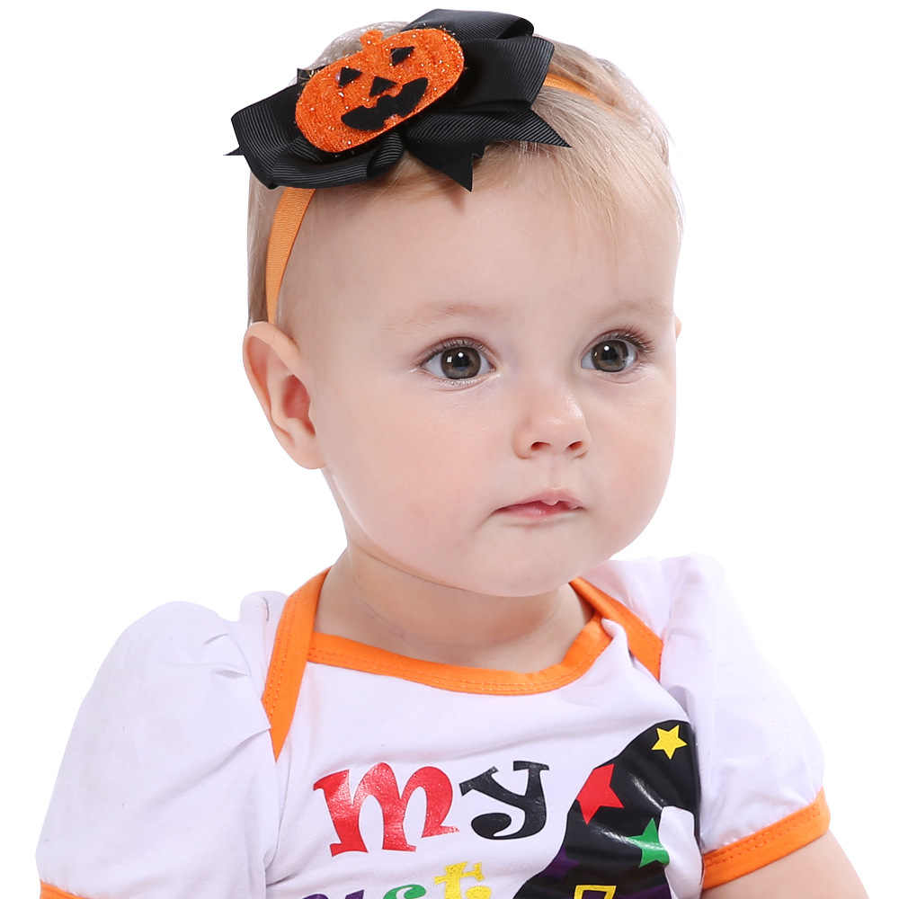 1 ชิ้น Lytwtw เด็กผู้หญิงทารกแรกเกิดผมเชือก Headband Headwear Headwrap ฮาโลวีนโบว์ผมฟักทอง Boy Head