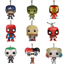 Marvel Harley Quinn the Joker Deadpool Batman Ironman Thor Hulk Spiderman  Super hero Action Figure Comics Gift Toy Keychain