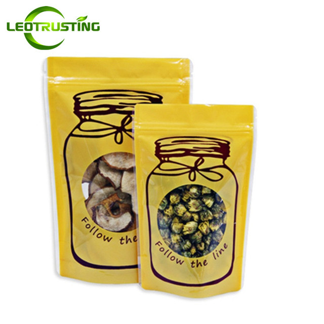 Leotrusting 100pcs Yellow Stand Up Clear Window Plastic Ziplock Bag Wedding Gift Pouch Coffee Snack Cookie