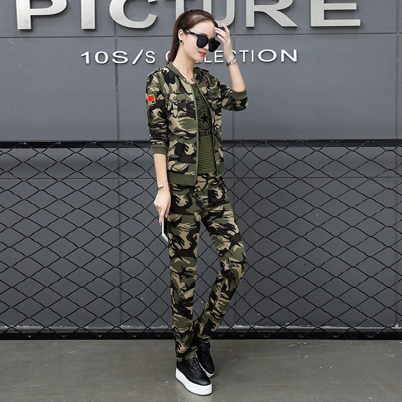 Mode Pièce Femelle De Couleurs 3 camouflage Army Green Sets 2 Sets Vert Femmes Veste Ensemble W1816 Vestes Camouflage Militaire Armée C4CqBwSrgx