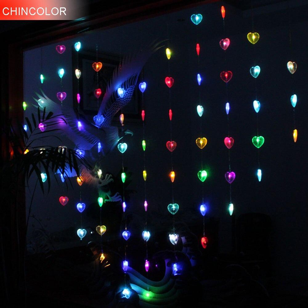 2*1.5 m 78 leds lumières de vacances en forme de coeur rideau lumière LED chaîne AC Plug noël mariage saint valentin fée décoration DA