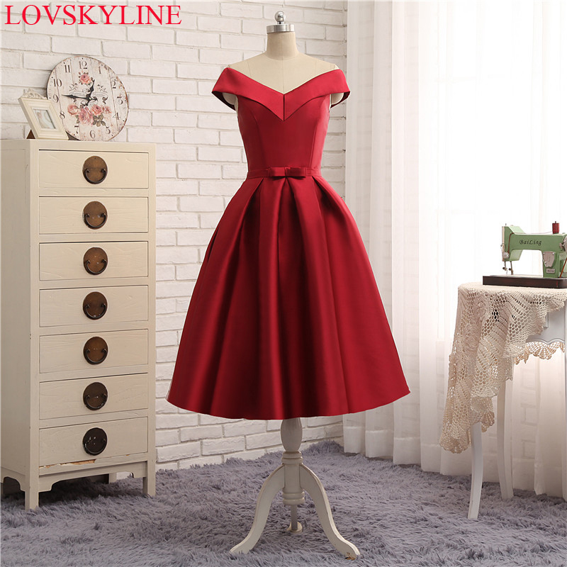 Boat Neck Cap Sleeve Bow Wine red Tea-Length   Bridesmaid     Dresses   Women Formal Party Gowns