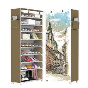 Image 1 - Armario de zapatos de gran capacidad, 10 capas, tela no tejida, dibujos animados 3D DIY, almacenamiento de zapatos, ahorrador de espacio, organizador de Zapatero