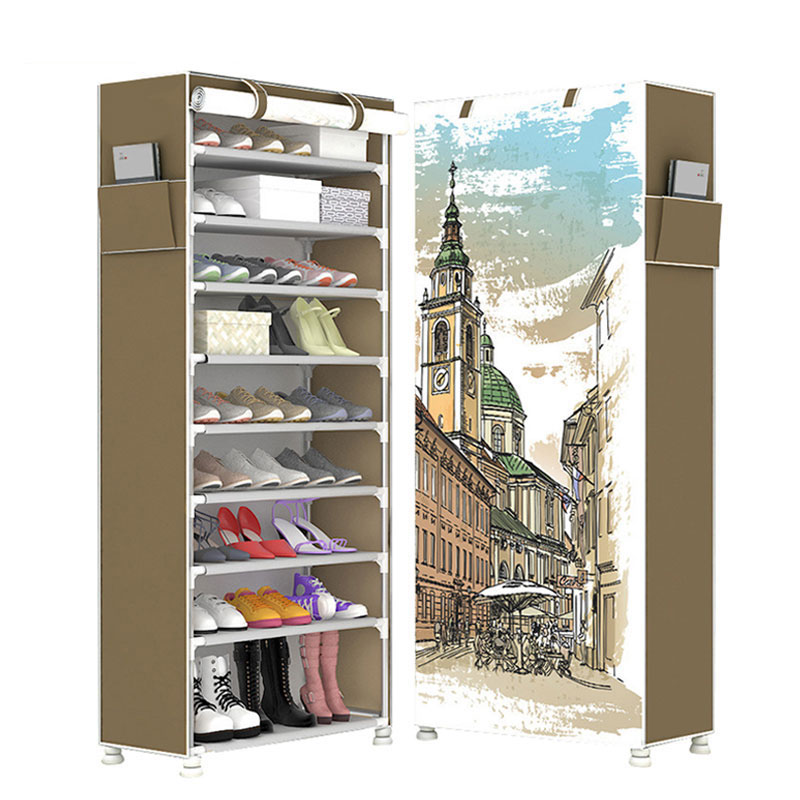 Large Capacity 10 Layers Shoe Cabinet Non-woven Cloth 3D Cartoon DIY Shoe Storage Space Saver Shoe Rack Organizer