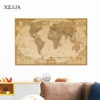 XZJJA Large Retro World Map Kraft Paper Paint Vintage Wall Sticker Poster Living Room Art Crafts
