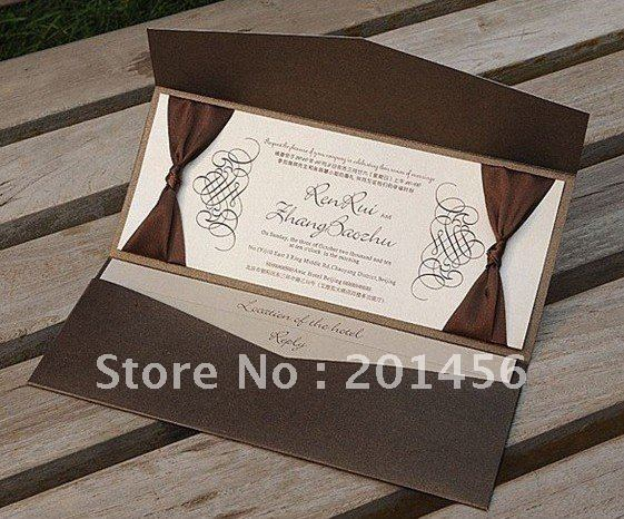 Free Personalized Wedding Invitations: Brown Pocket Wedding Invitations Free Personalized
