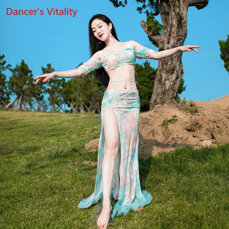 Dance Competition Set Belly Dance Performance Mesh Top+Skirt Set 2pcs Women Oriental Dance Dance Performance Suit