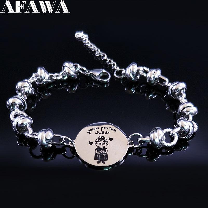 2018 Mode Abuela Acier Inoxydable Bracelet Charmes Femmes Couleur Argent Bracelets Bijoux pulseras acero inoxidable mujer B18118
