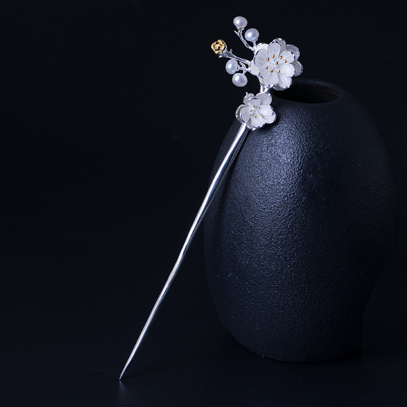 925 Sterling Silver Pearl Hair Stick Accessories For Women Plum Blossom Flower Bobby Pin Vintage Chinese Style Hairpin Jewelry natural dry flower nail decoration 60pcs mix 12 color daisy babysbreath plum blossom flower manicure accessories