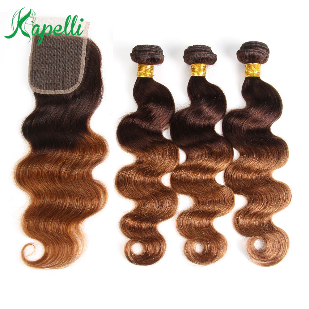 Ombre Body Wave Human Hair Bundles With Closure 4/30 Brown Peruvian NonRemy Human Hair Weave Colored 3 Bundles With Lace Closure