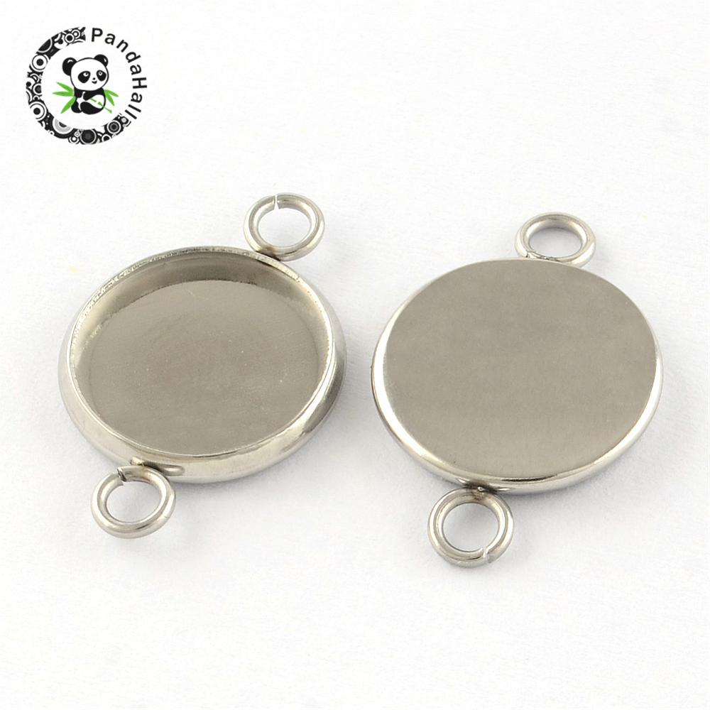 304 Stainless Steel Links, Cabochon Settings, Flat Round, Stainless Steel Color, Tary: 12mm; 21x14x2mm, Hole: 2mm