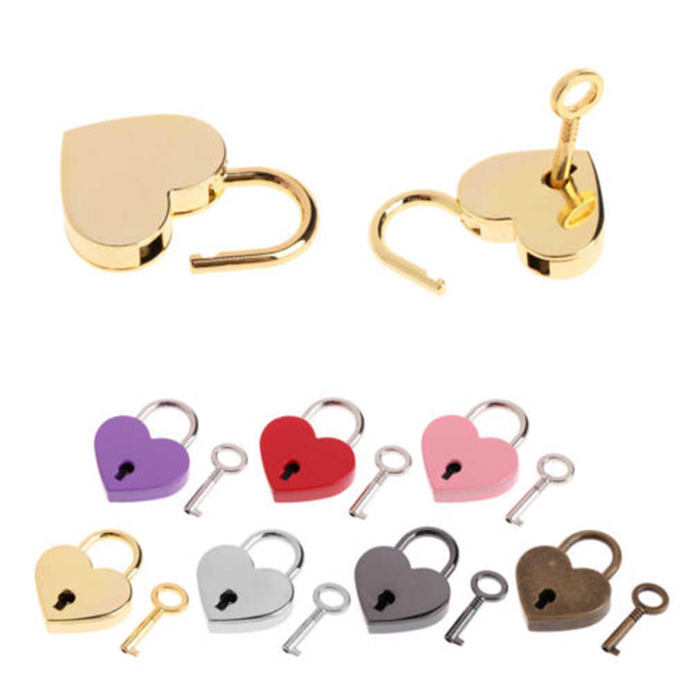 Mini coração forma de bloqueio caso bagagem ginásio locker cadeado chave aparelho doméstico artesanato diário brinquedo caixa minúscula