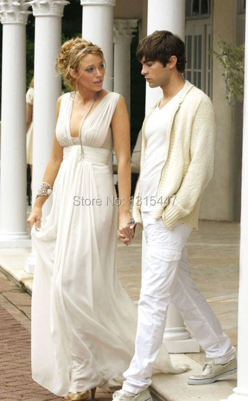 Blake Lively White Chiffon Party Dress Gossip Girl Fashion Celebrity Prom Gown1.4