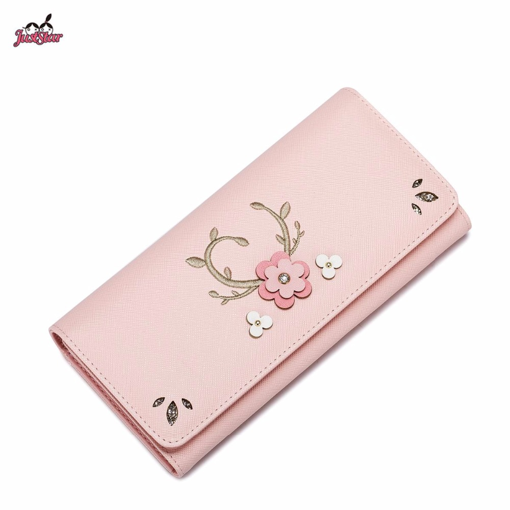 ФОТО Just Star Brand Design Fashion Embroidery Collage Flower PU Women Leather Girls Ladies Long Wallets Cards Holder Purse Clutches
