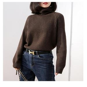 Image 4 - new sweater women turtleneck Loose sweaters pullover women striped knitted sweater cashmere sweater women winter clothes women