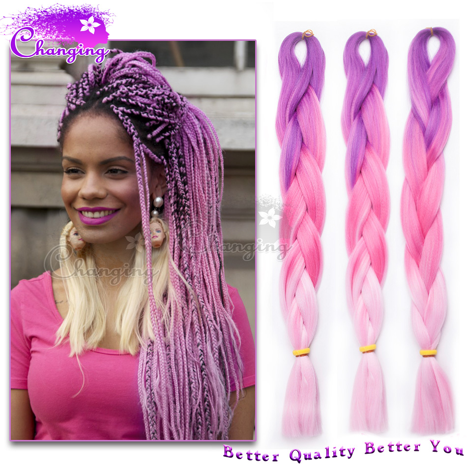 Fashion Purplepink Ombre Kanekalon Jumbo Braiding Hair Pink Hair
