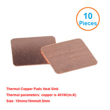 New Premium 10pcs/lot 15x15x0.5mm DIY Copper Shim Heatsink thermal Pad for Laptop GPU CPU VGA Chip RAM Copper Heat sink
