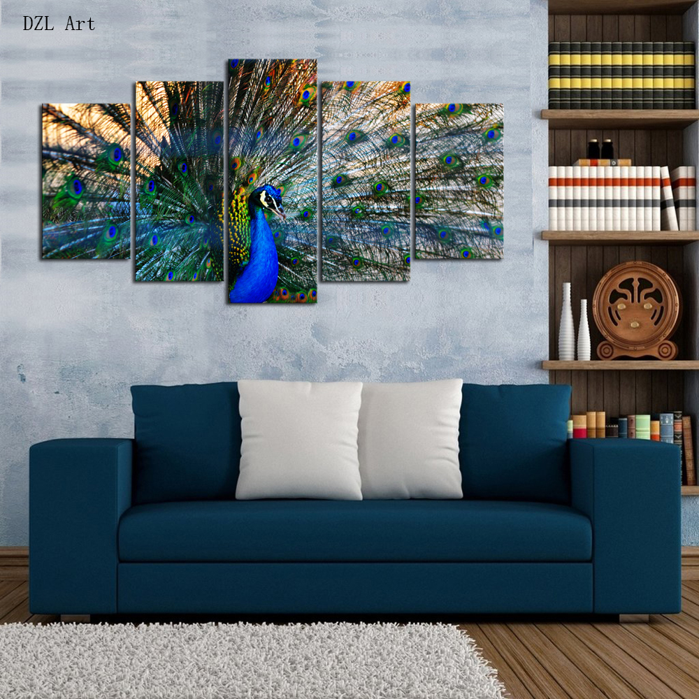Peacock bedroom set - Drop Shipping 5 Sets Panels Peacock Print On Canvas Large Canvas Painting For Bedroom Living Room Home Wall Art Decor