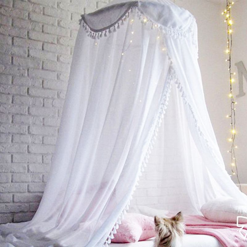 KAMIMI New Baby Room Hairball Tassel Home Decoration Lace Dome Bed Children 39 S Chiffon Petal Tent Ruffle Mosquito Net in Crib Netting from Mother amp Kids