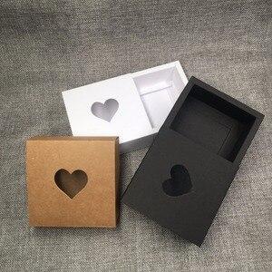 Image 3 - 50ピースクラフト引き出しボックス付きpvcハート窓用ギフトの手作り石鹸工芸品のジュエリーはマカロンパッキングブラウン紙収納ボックス