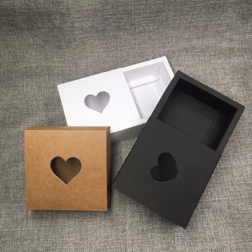 Image 3 - 50pcs Kraft Drawer Box with PVC Heart Window for GiftHandmade 
