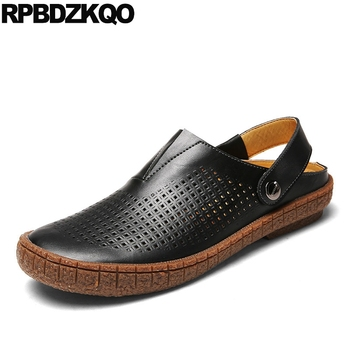 outdoor slippers 2019 strap black mules nice brown shoes native water men sandals leather summer closed toe breathable slides