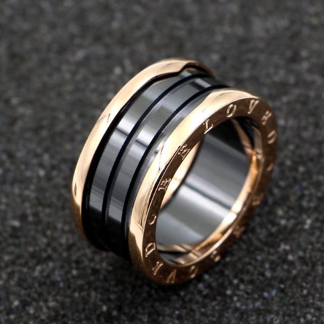 Luxury brand imitation jewelry rose gold BELOVED ceramic ring