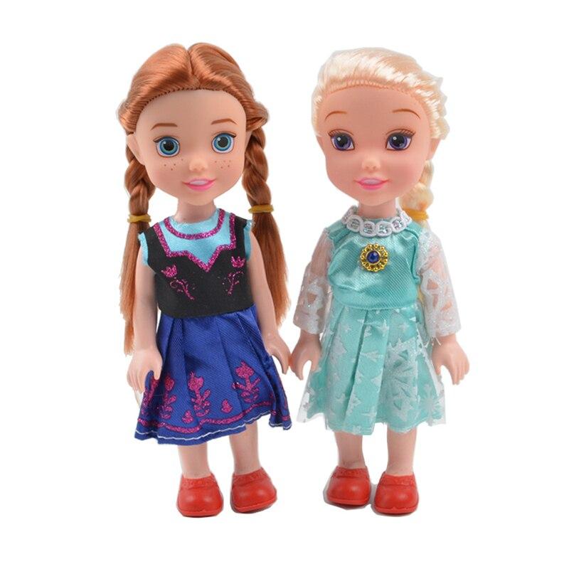 2pcs/set Disney Cartoon Princess Doll Kawaii Elsa Anna Action Figure Model Toys Birthday Christmas Gifts Toys For Children
