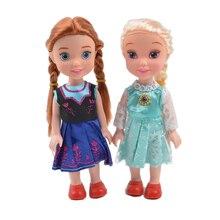 2 unids/set de dibujos animados de Disney princesa muñeca Kawaii Elsa Anna figura de acción modelo de cumpleaños juguetes regalos de navidad juguetes para los niños