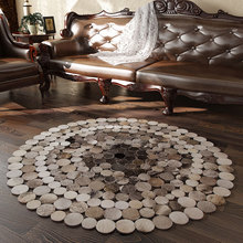 Американский стиль, роскошная воловья кожа, прошитая круглая нашивка, рабочий ковер, Натуральный Молочный коврик в виде шкуры для гостиной, декоративный меховой коврик