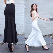 マーメイドスタイルストレッチ女性の黒と白スカート XS-3XL 新ファッションロング女性のプラスサイズ 2019