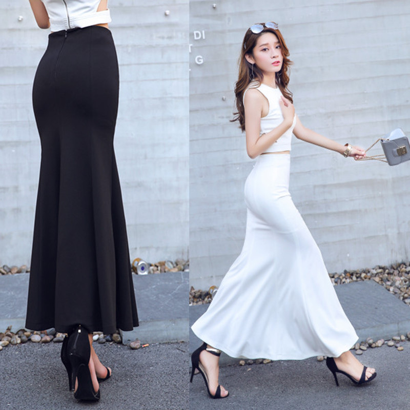 Ultimate Deal<Maxi-Skirt Stretch Mermaid-Style Black Long Plus-Size Women New-Fashion Ladies for Andê