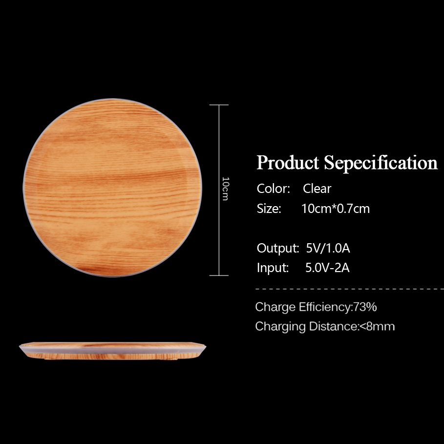 CinkeyPro Wood Wireless Charger Pad with LED Light 5W Charging for iPhone 8 X Samsung XiaoMi Charge Mobile Phone USB QI Device 7