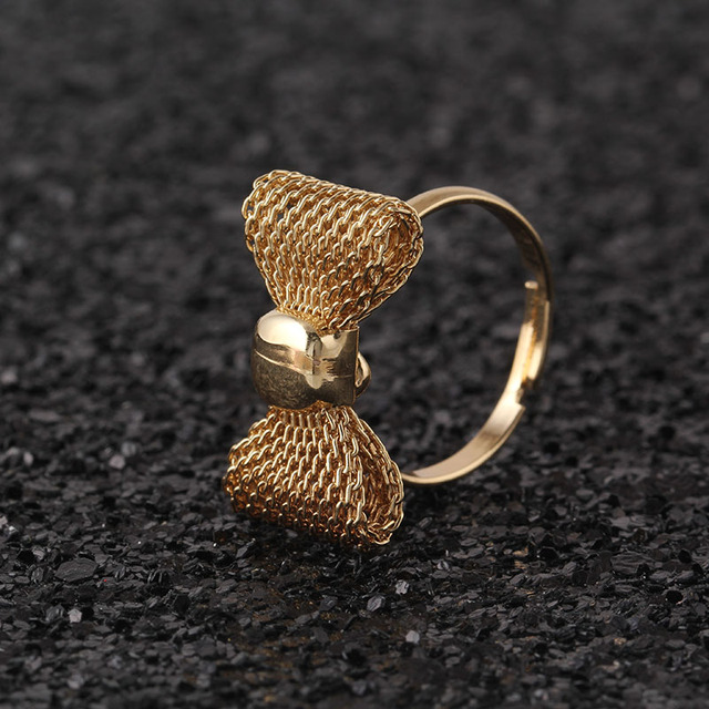 Fashion Gold Color Exquisite Noble Cute Bow Ring,Fashion Ring,Adjustable Size R255
