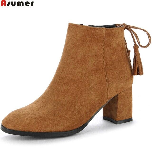 US $30.16 48% OFF|Asumer zwart grijs abrikoos vrouwen herfst winter laarzen rits flock dames laarzen vierkante hak kruis gebonden enkellaarsjes big