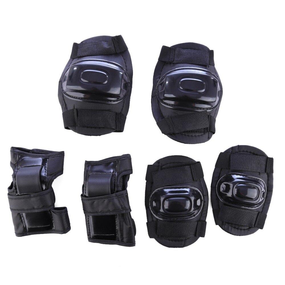 6 шт. Дети Спорт Защитное тела Шестерни комплект для катания на велосипеде защиты-черный