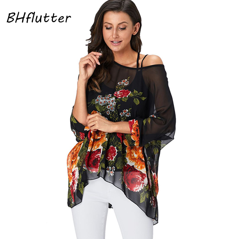 BHflutter Women Tops Tunic 2019 New Style Floral Print Chiffon   Blouse     Shirt   Batwing Casual Loose Summer   Shirts   Plus Size Blusas
