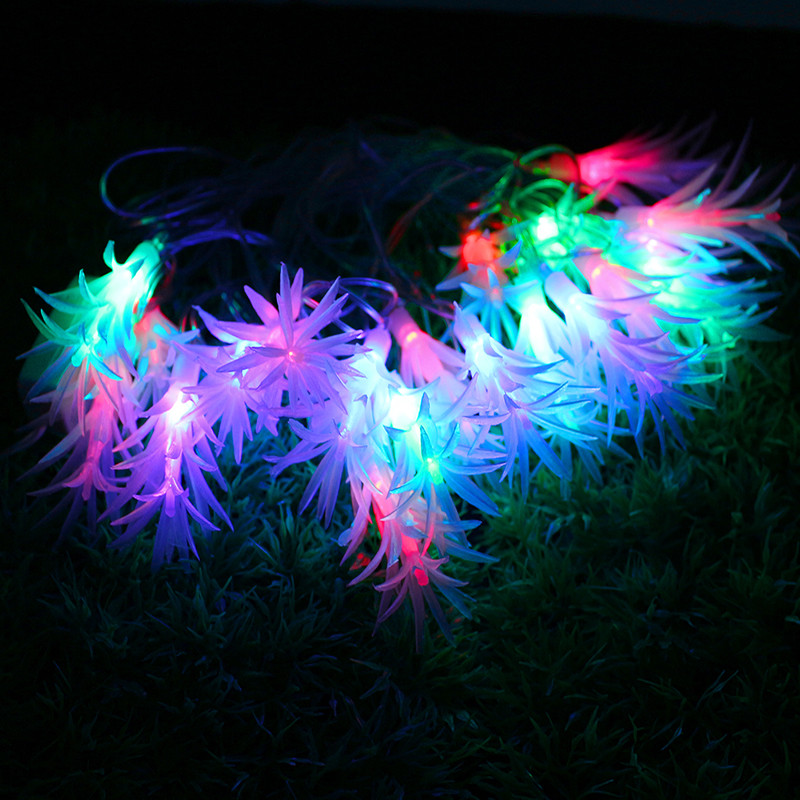 Tanbaby 4M 20LED pine leaf color light led string indoor and outdoor Christmas party romantic atmosphere decorative lights