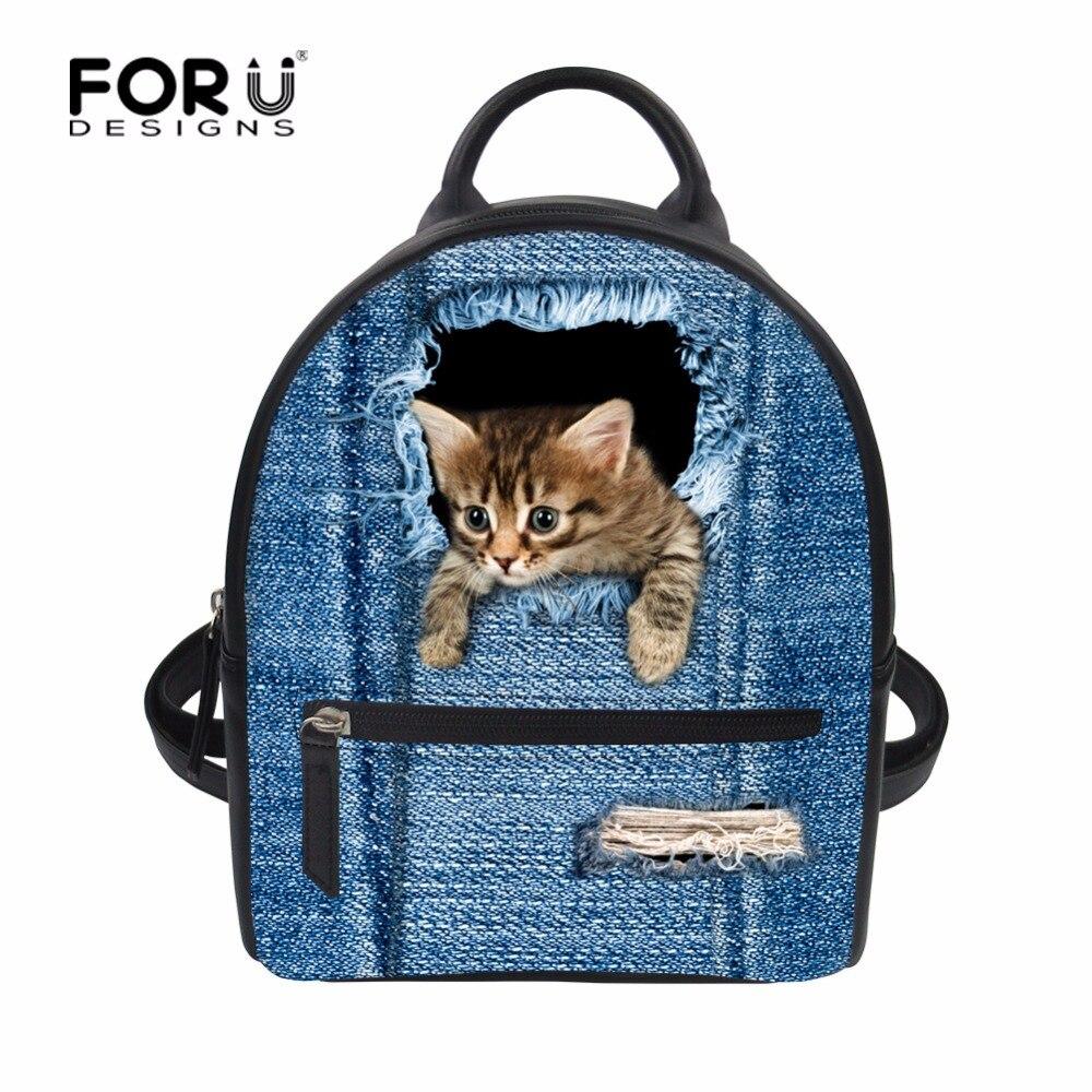 FORUDESIGNS Denim Cat Printed Mini Girls Bags Women Backpack PU Leather Fashion Backpacks Small Cute Classic Female Back Pack