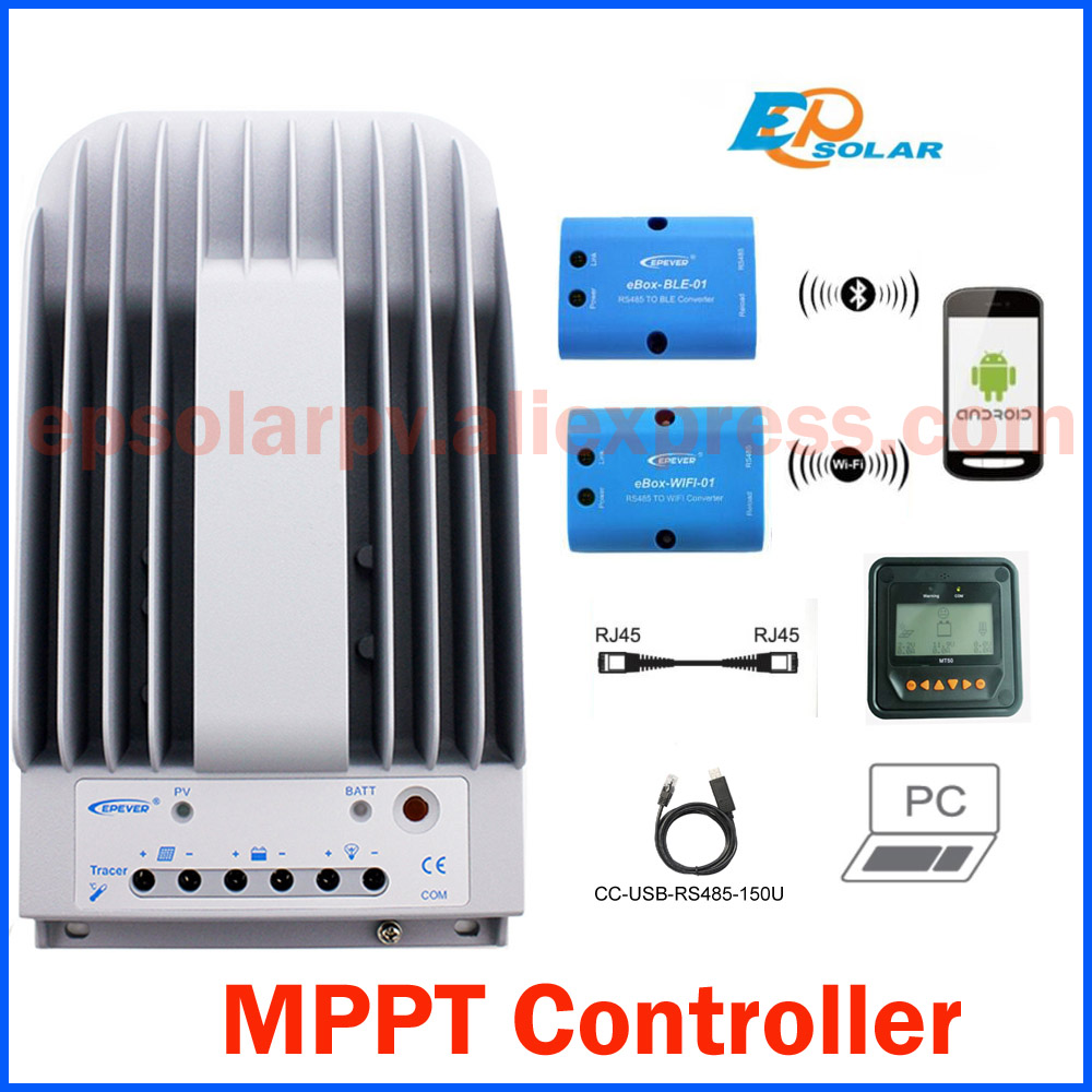 Tracer 3215BN 30A MPPT Solar Charge Controller 12V 24V LCD EPEVER Regulator MT50 WIFI Bluetooth PC Communication Mobile APP tracer 10a 20a 30a 40a 1215bn 2215bn 3215bn 4215bn with mt50 meter mppt solar charge controller 12v 24v epever pv regulator