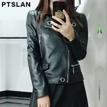 Ptslan 2017 Women'S Genuine Leather Jacket Motorcycle Classic Sheepskin Lambskin Jackets Female Basic Good Quality