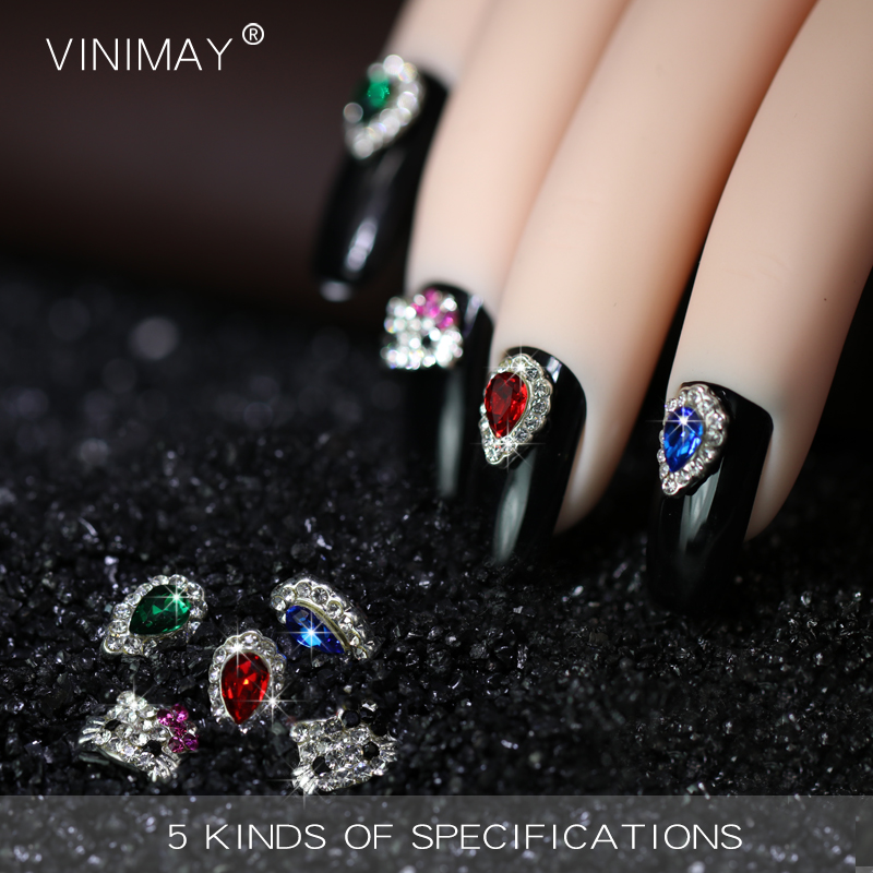 VINIMAY Red Blue Green Noble Nail Art 3D Decorations Crystal Pixie ...