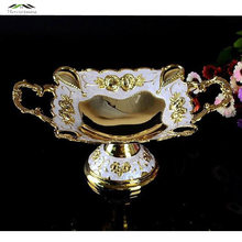 New Shiny Golden Plated Fruit Dish With Handle Dessert Plate Sweet Dishes Epoxy Fruit Rack Plates For Wedding Or Party 18X7.5CM(China)