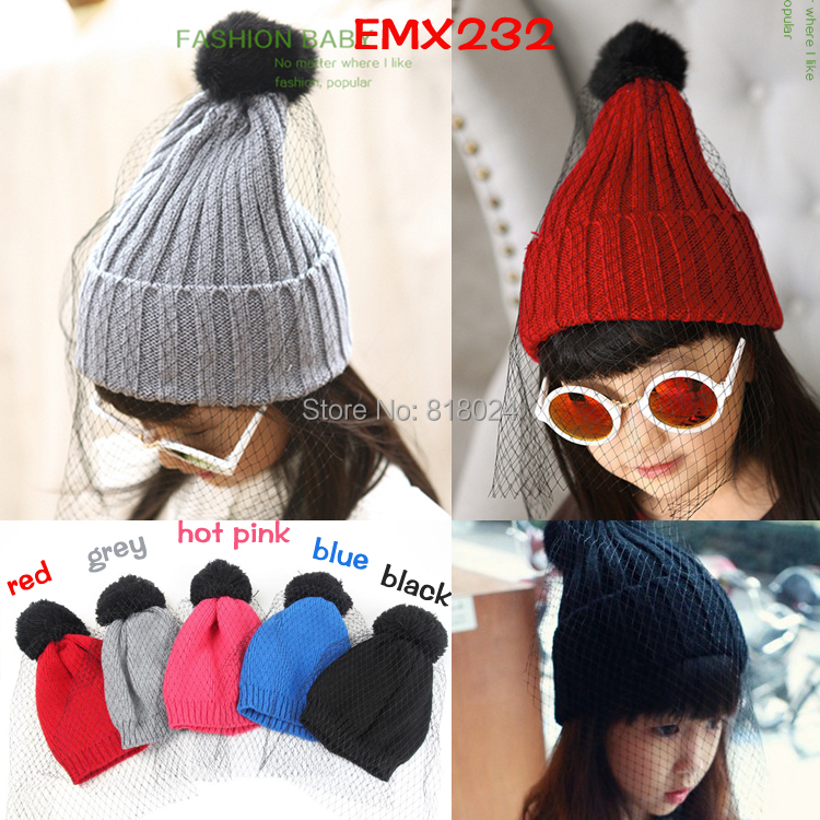 New 2014 Winter Gauze Veil Baby Girls Beanie Hat Warm Knitted Hat For Children Accessories Fashion Casual Cap As Christmas Gift