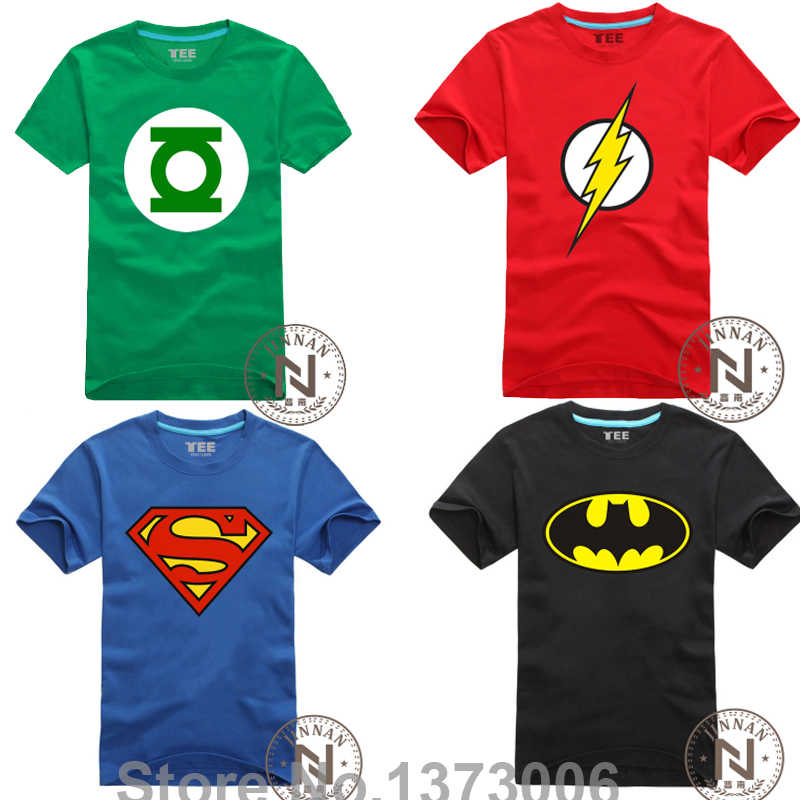 Comic Super Hero T Shirt Superman Batman il Flash Cartoon Movie Uomini Ragazzo Cosplay T-Shirt Tshirt Geek Tee